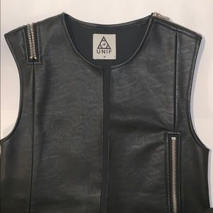 Black Vegan Leather Zipper Vest